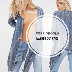 Free People Sweaters - Free People Washed Out Cardi in BLUE ~ rare Small